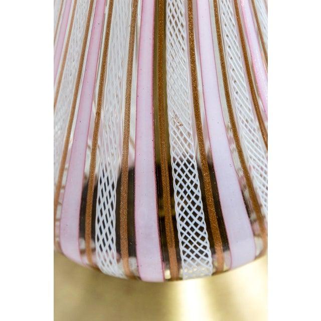 Brass Pink Filigrana Aventurine Glass Murano Lamp For Sale - Image 7 of 9