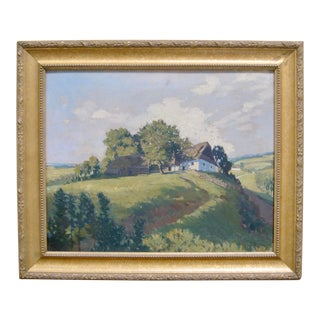 Jan Honsa Vintage Early 20th Century Czech Republic Landscape Signed Original Oil For Sale