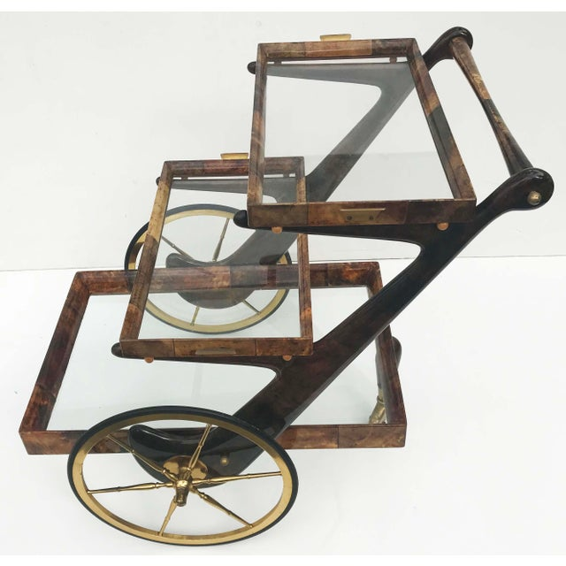 Aldo Tura Goatskin and Lacquer Bar Cart For Sale - Image 9 of 9