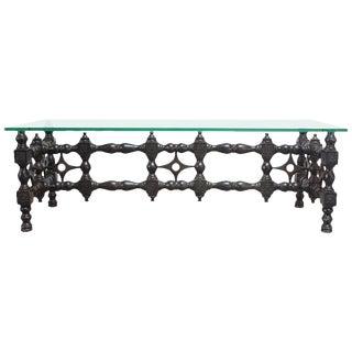 Renaissance-Style Carved Ebonized Oak Coffee Table For Sale