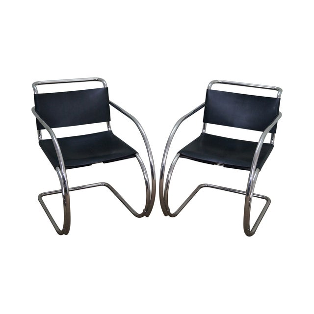 Knoll Ludwig Mies Van Der Rohe Chairs - Pair - Image 1 of 10