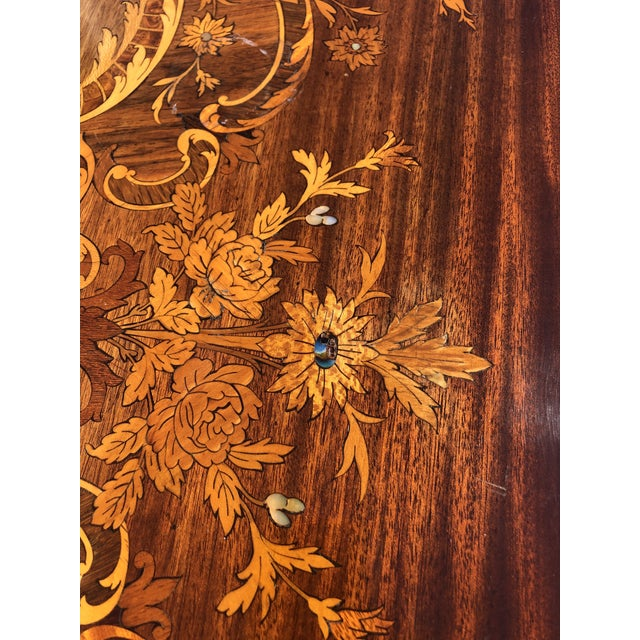 Louis XV Style Mahogany and Satinwood Marquetry Inlaid Center Table For Sale - Image 9 of 13