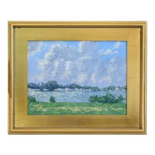 Impressionist Plein Air Lake & Sky Painting W/ Gold Leaf Frame