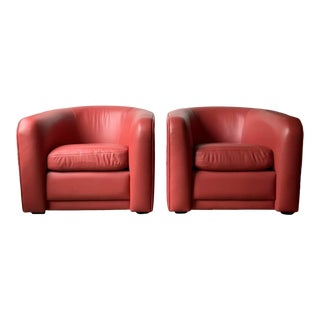 1980s Custom Made Red Leather Club Chairs - a Pair For Sale