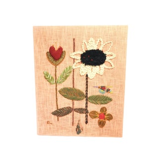 Mid Century Modern Crewel Floral Embroidery Art