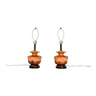 Pair of Mid-Century Drip Glaze Lamps For Sale