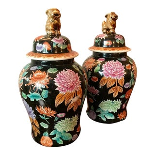 20th Century Asian Antique Famille Noire Ginger Jars on Rosewood Stands - a Pair For Sale