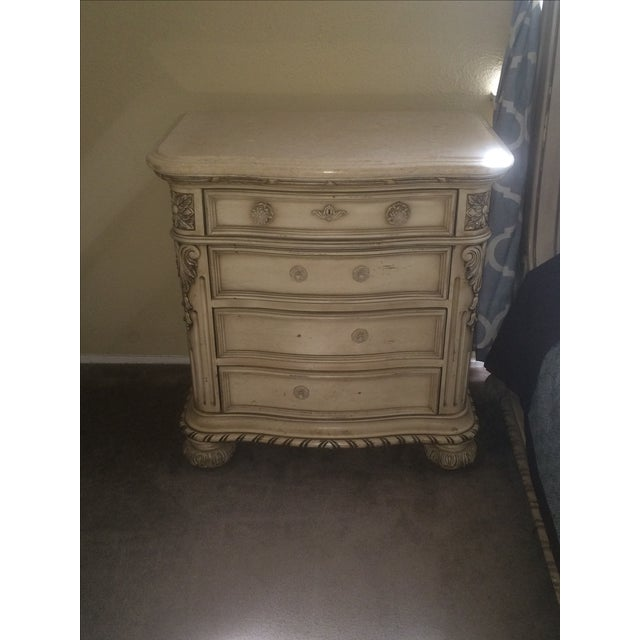 Cream Colored Marble Nightstand - Image 2 of 4