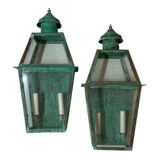 Large Architectural Copper Wall Lantern - a Pair For Sale