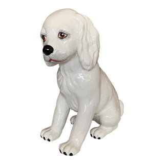 Italian Ceramic Cocker Spaniel White Dog For Sale