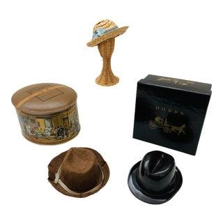 Miniature Salesman Sample Trinkets Hat Box Dobbs - 6 Pieces For Sale