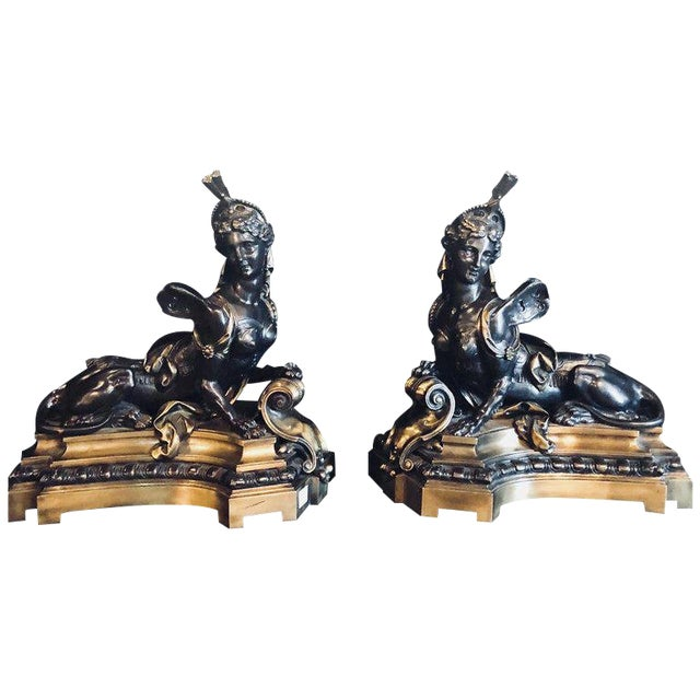 Pair of 19th Century Louis XVI Palatial Figural Fireplace Chenet / Andirons For Sale