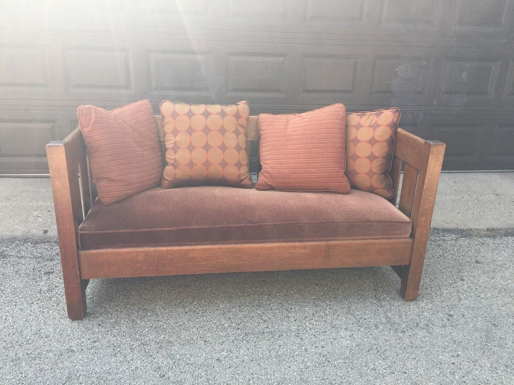 Authentic Phoenix Furniture Company Oak U0026 Velvet Settle   Image 2 Of 11