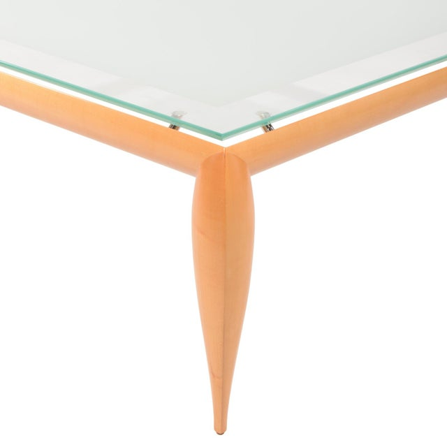 Contemporary 1990s Contemporary Brueton Wood & Glass Top Coffee Table For Sale - Image 3 of 5