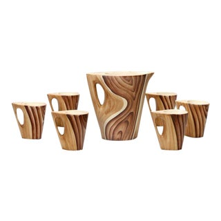 Vallauris Faux Bois Ceramic Pitcher & 6 Mugs For Sale