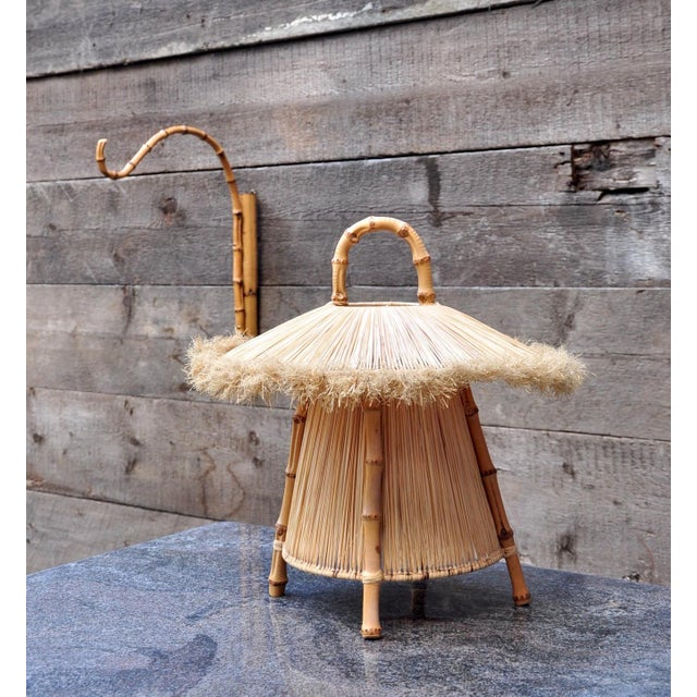 Bamboo and Straw Hanging Lantern For Sale - Image 4 of 7