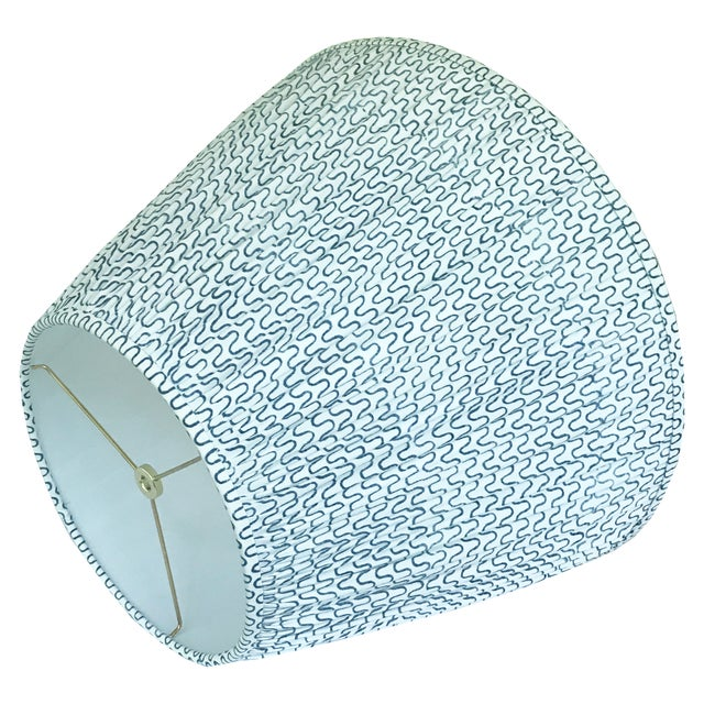 English Gathered Pleat Les Indiennes Indigo Lamp Shade 9x16x12 For Sale - Image 3 of 5