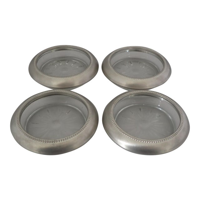 Mid-Century Pewter & Glass Coasters - Set of 4 - Image 1 of 6
