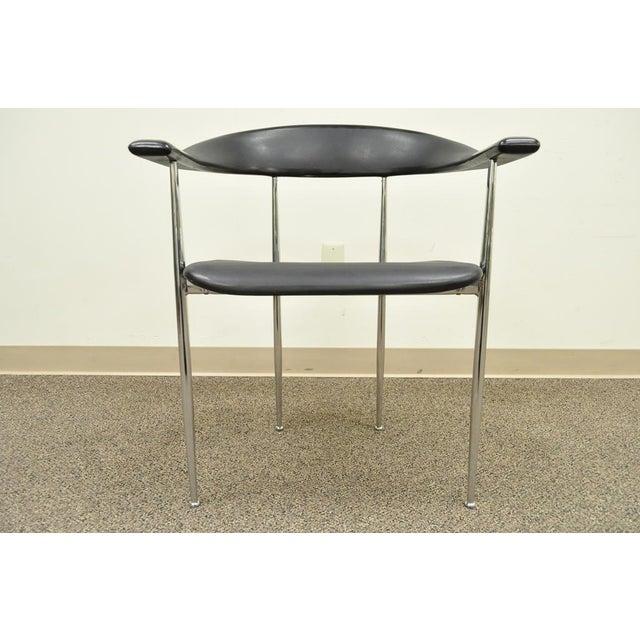 Vintage Mid Century Modern Fasem Chrome & Molded Vinyl Italian Desk Arm Chair For Sale - Image 10 of 11