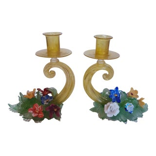 Vintage Mid 20th Century Italian Murano Glass Candelabras - a Pair For Sale