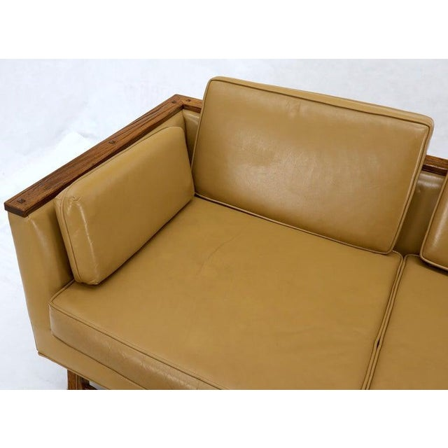 Mid-Century Modern Tan Leather Oak Frame Sofa by Ranch Oak For Sale - Image 11 of 13