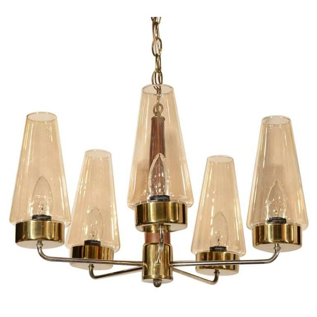 Mid-Century Modern Danish Chandelier in Teak and Brass For Sale - Image 9 of 9