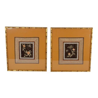 Vintage Asian Embroidery Silk Art Bugs-a Pair For Sale