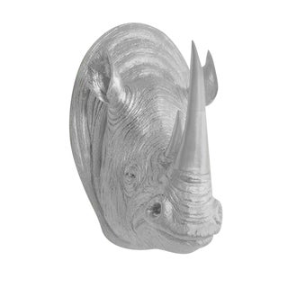 Boho Chic Faux Silver Rhino Wall Charmer For Sale