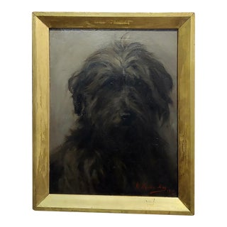 William Hardie Hay -Portrait of a Beautiful Black Terrier Dog -Oil Painting C.1911 For Sale