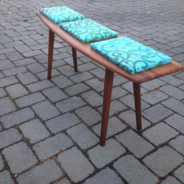 Teak and Batik Three Seater Bench - Image 3 of 6
