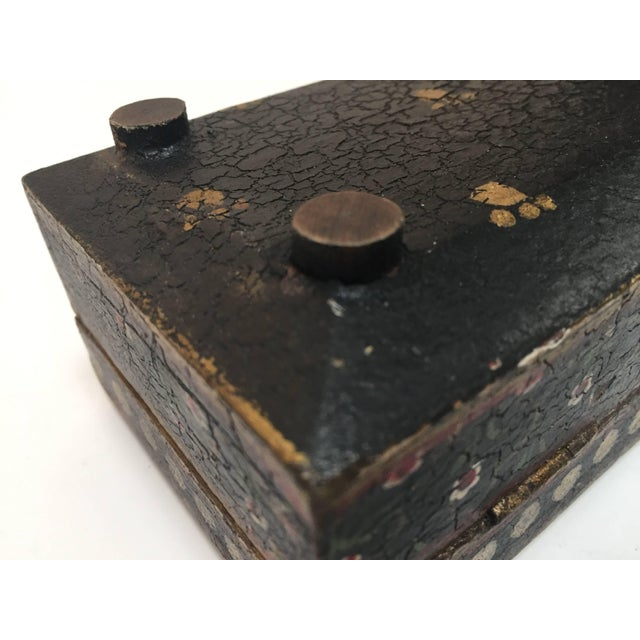 Black Rajhastani Hand-Painted Decorative Footed Tea Box For Sale - Image 8 of 10