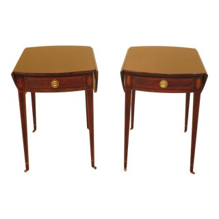 1990s Federal Baker Inlaid Mahogany Pembroke Tables - a Pair For Sale