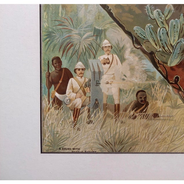 English Traditional Stanley in Africa Looking for Livingstone-Original Silkscreen Lithograph For Sale - Image 3 of 10