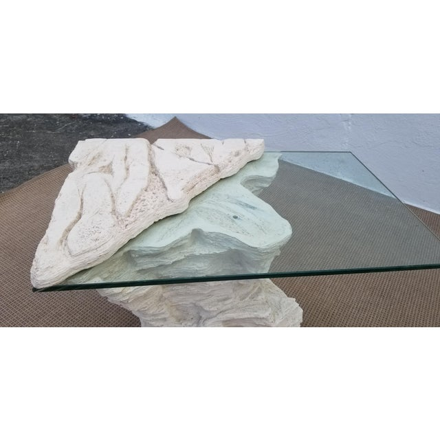 Glass Sirmos Faux Rock Plaster Side Tables - a Pair For Sale - Image 7 of 13