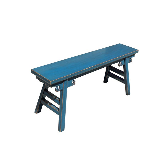 Asian Chinese Oriental Distressed Teal Blue Long Wood Bench Stool For Sale - Image 3 of 7