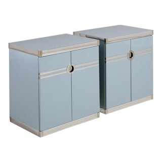Pair of Bone China Blue Pierre Cardin Side Cabinets, 1970s For Sale