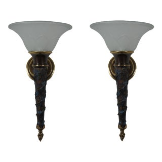 Vintage Minka Lavery French Empire Torchiere Grape Vine Wall Sconce Lanterns - a Pair For Sale
