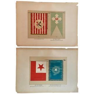 "19th Century ""Civil War Era Military Flags"" Lithographs Prints - a Pair For Sale"