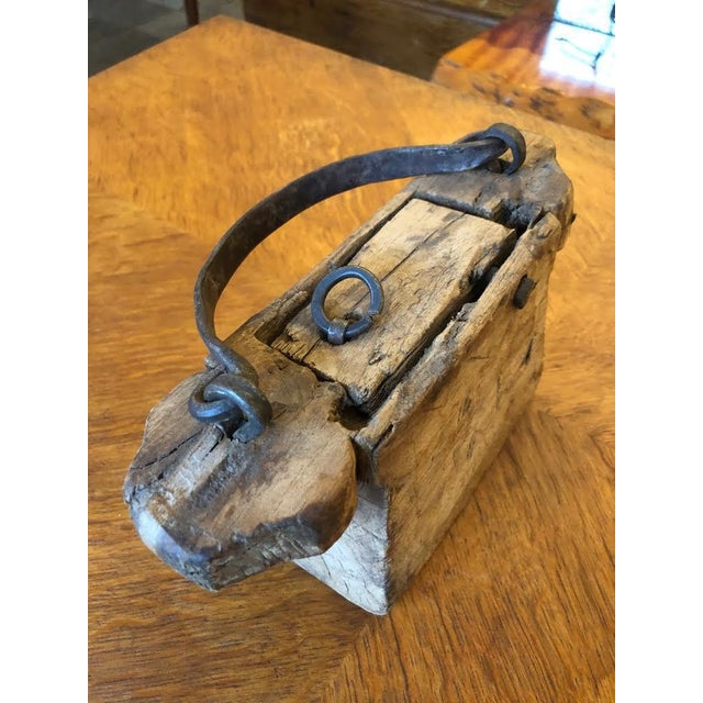 Folk Art Wood Carved Handbag/Purse With Hand Forged Hardware For Sale - Image 4 of 8