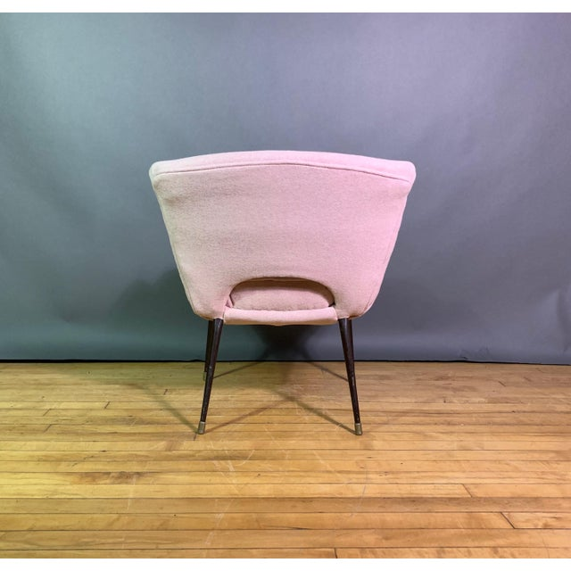 Metal Italian 1950s Boudoir Chair, Pink Felted Wool For Sale - Image 7 of 11