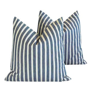"Blue & White French Ticking Feather & Down Pillows 21"" Square - Pair"