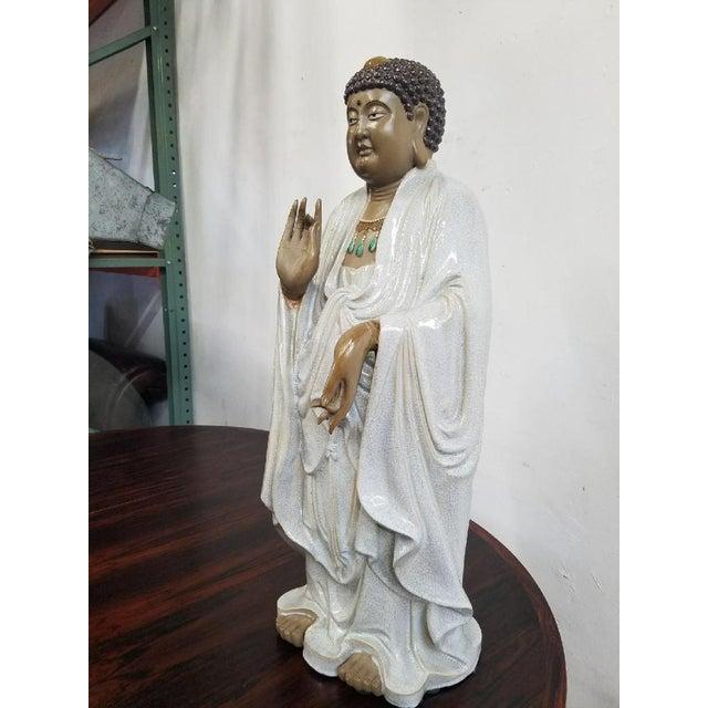 Glazed Ceramic Buddha Statue - Image 3 of 9