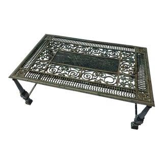 Antique Heavy Cast Iron Garden Table For Sale