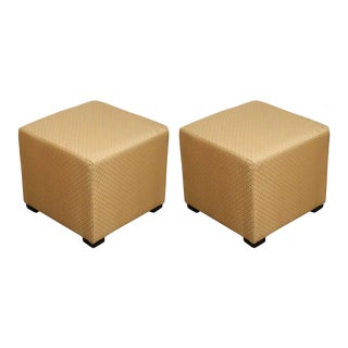 Gold Cube Upholstered Moroccan Ottomans, Poufs - A Pair For Sale