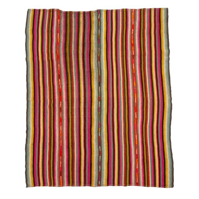 1960s Vintage Colorful Striped Decorative Kilim Rug- 6′ × 7′2″ For Sale