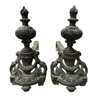 Antique French Black Metal Andirons - a Pair