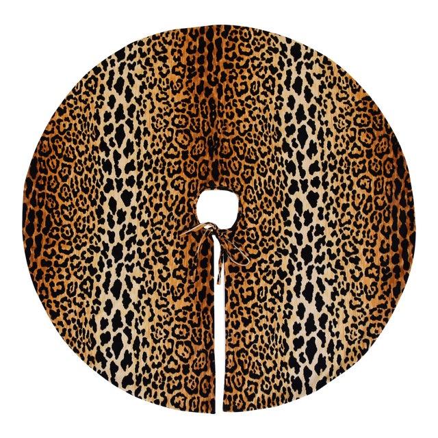 """X-Large 55"""" Custom-Tailored Leopard Velvet Christmas Tree Skirt For Sale"""