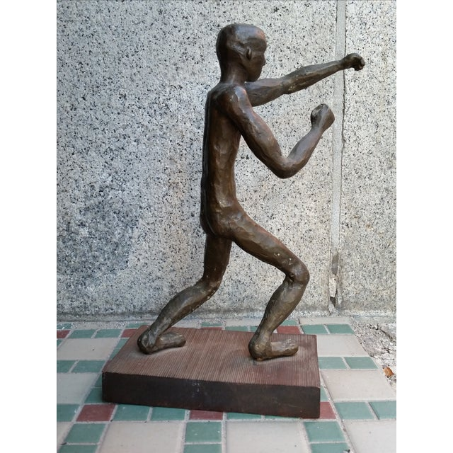 Brutalist Nude Male Bronze Sculpture - Image 4 of 9