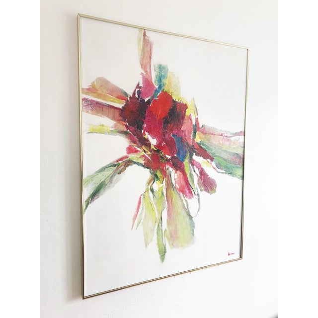An original oil painting by Bay Area artist, Nettie Hardman (1925-2006). A brightly colored abstract form made in paint...