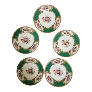 Early 20th Century Antique Myotts Royal Crown Staffordshire China Bread & Butter Plates - Set of 5 For Sale
